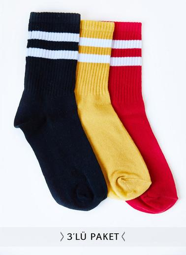 XHAN 3'Lü Örme Çorap 0Yxk9-43444-02 Renkli